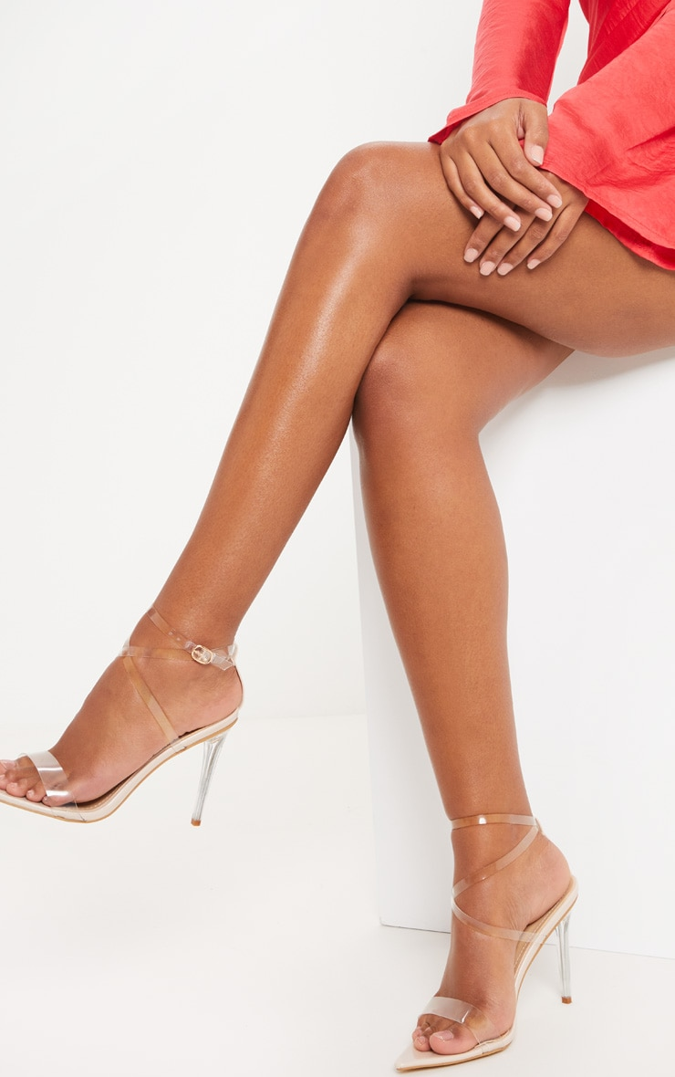 Nude Point Toe Clear Strappy Sandal  1