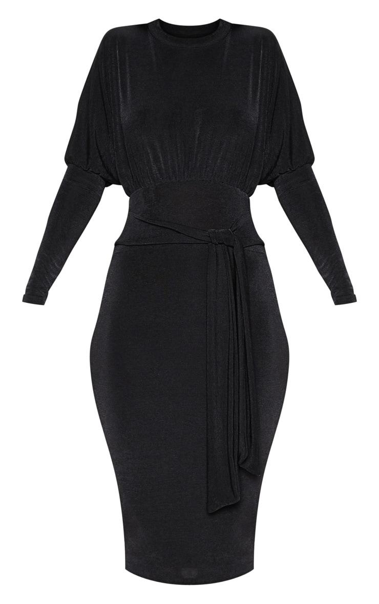 Black Balloon Sleeve Tie Waist Midi Dress 3