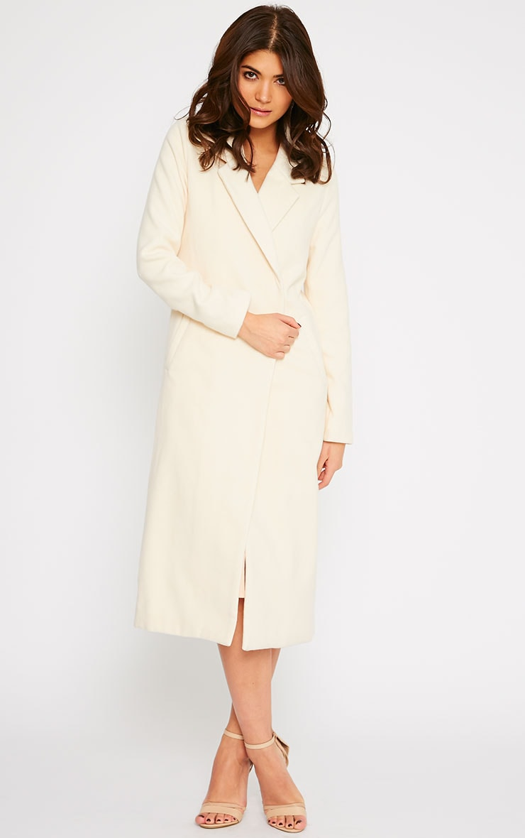 Salana Cream Longline Double Breasted Coat  4