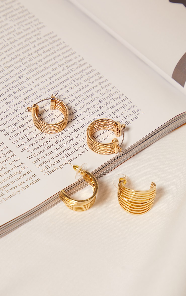 Gold Two Pack Ribbed Hoop Earrings 1