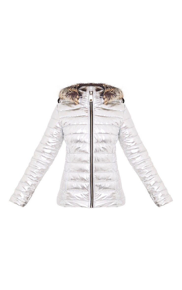 Effie Silver Metallic Puffer Jacket 3