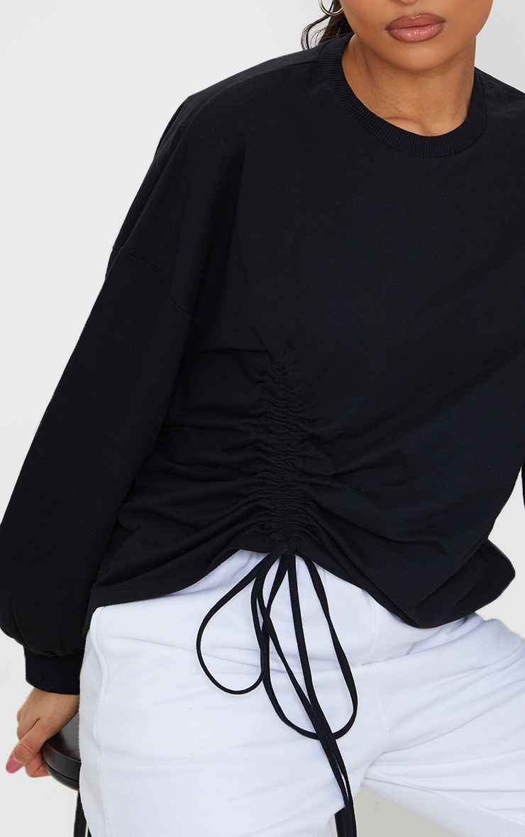Black Drawstring Ruched Side Sweatshirt 4