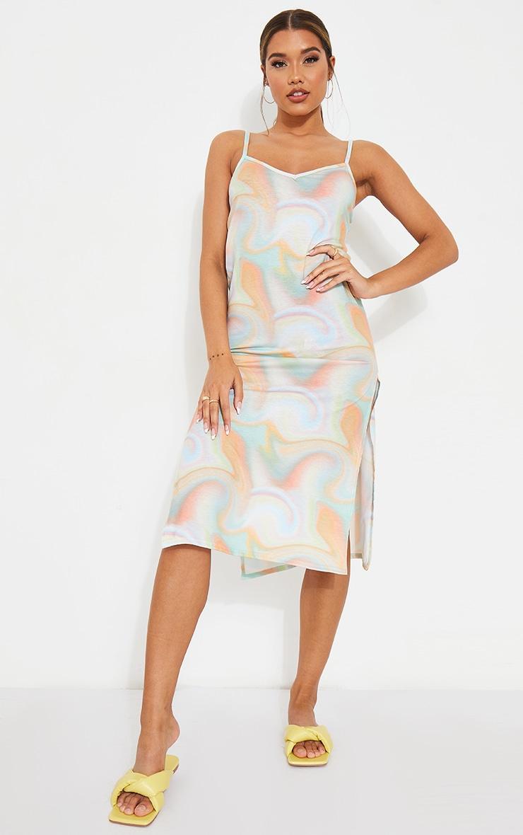 Multi Pastel Marble Print Jersey Split Cami Midi Dress 3