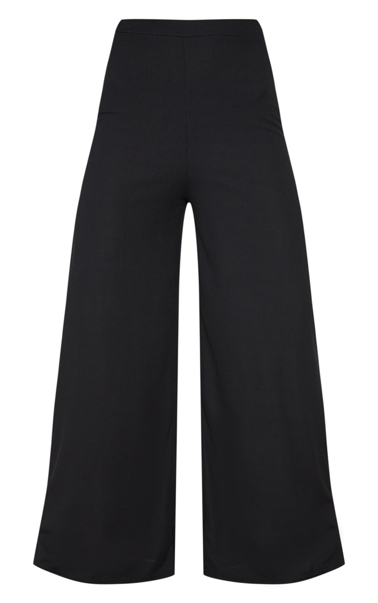 Black Rib Wide Leg Pants 3