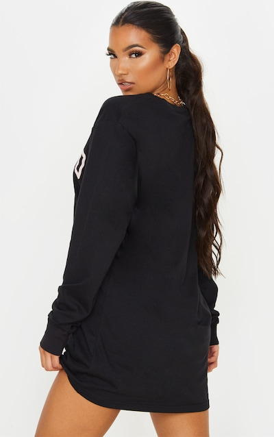 Black Chicago Slogan Long Sleeve T Shirt Dress