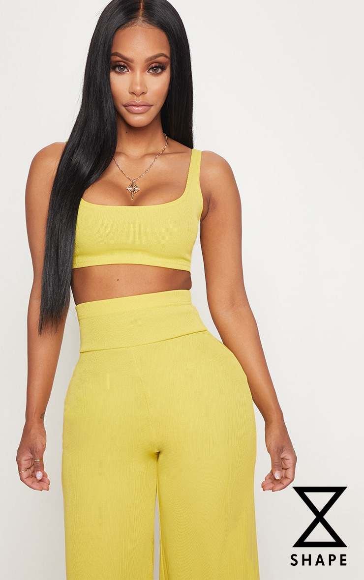 PRETTYLITTLETHING Shape Chartreuse Bandage Crop Top Perfect Cheap Online mJ58m3p