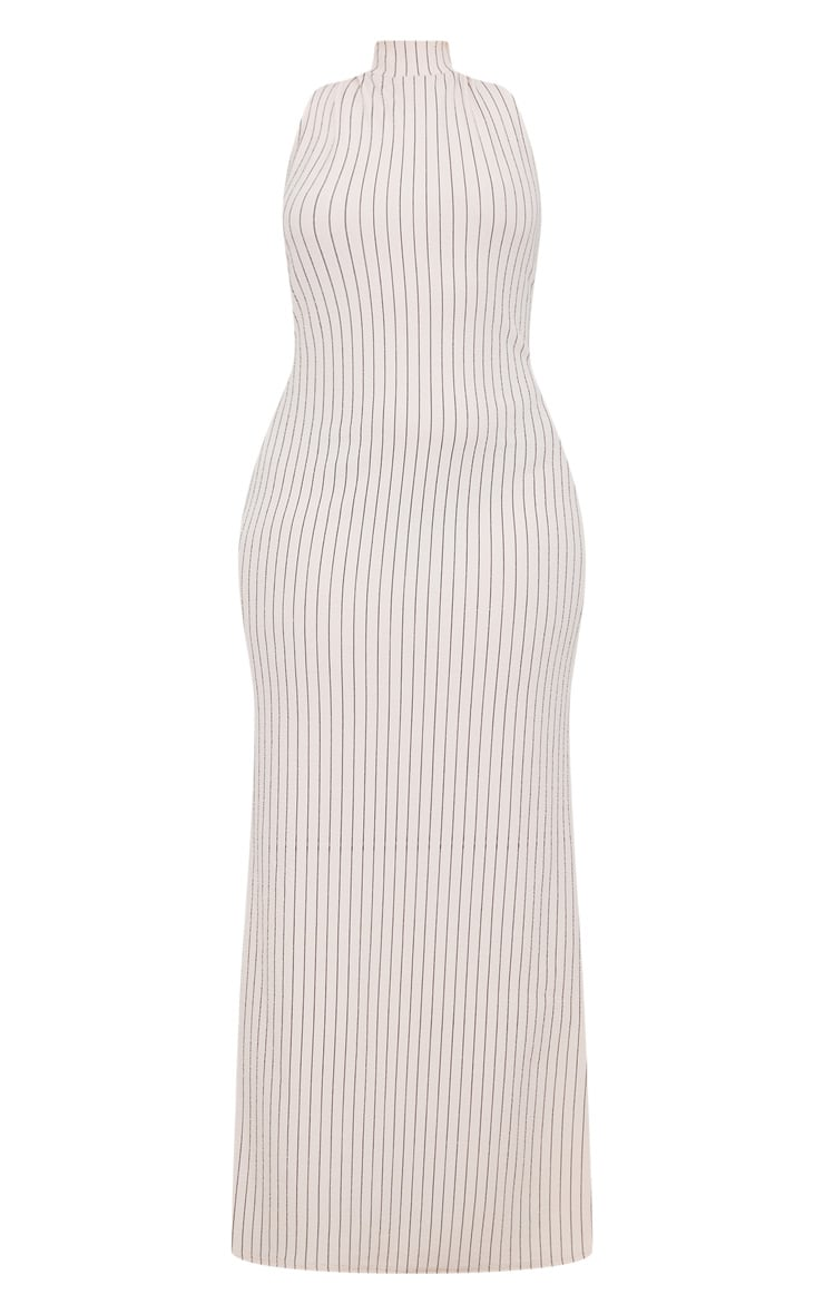 Plus Nude Pinstripe High Neck Maxi Dress 3