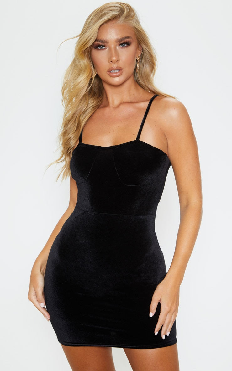 Black Velvet Strappy Cup Detail Bodycon Dress 1