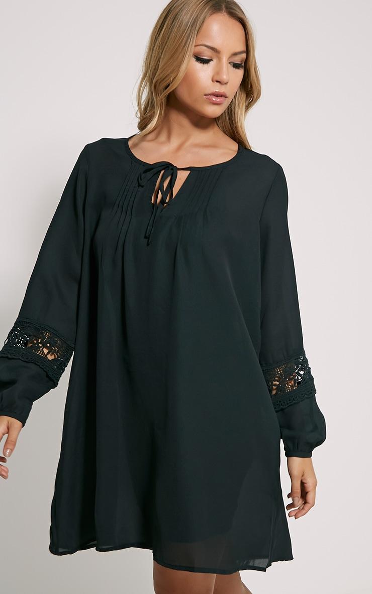 Maia Black Crochet Detail Dress 4