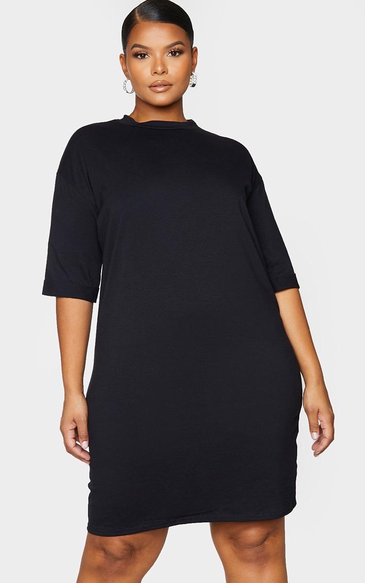 PLT Plus - Robe tee-shirt oversize style boyfriend noire à manches courtes 1