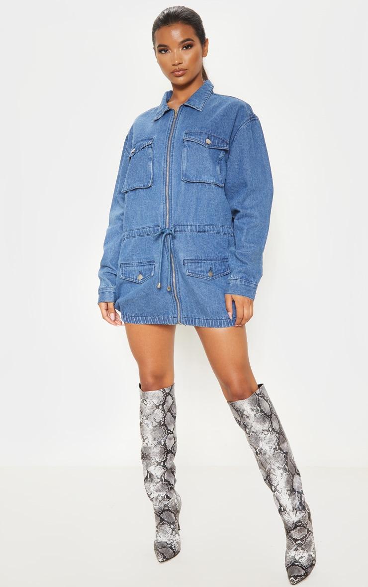 Mid Wash Pocket Detail Elastic Hem Jacket