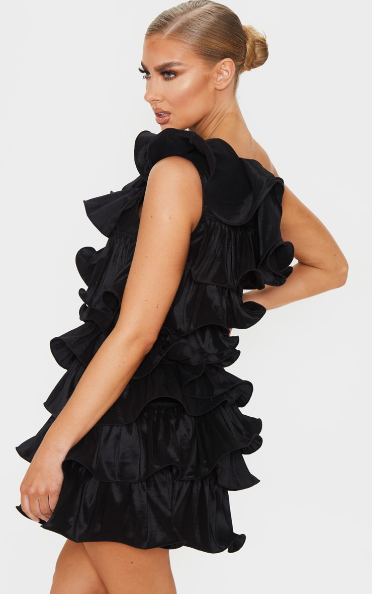 Black One Shoulder Tiered Frill Shift Dress 2