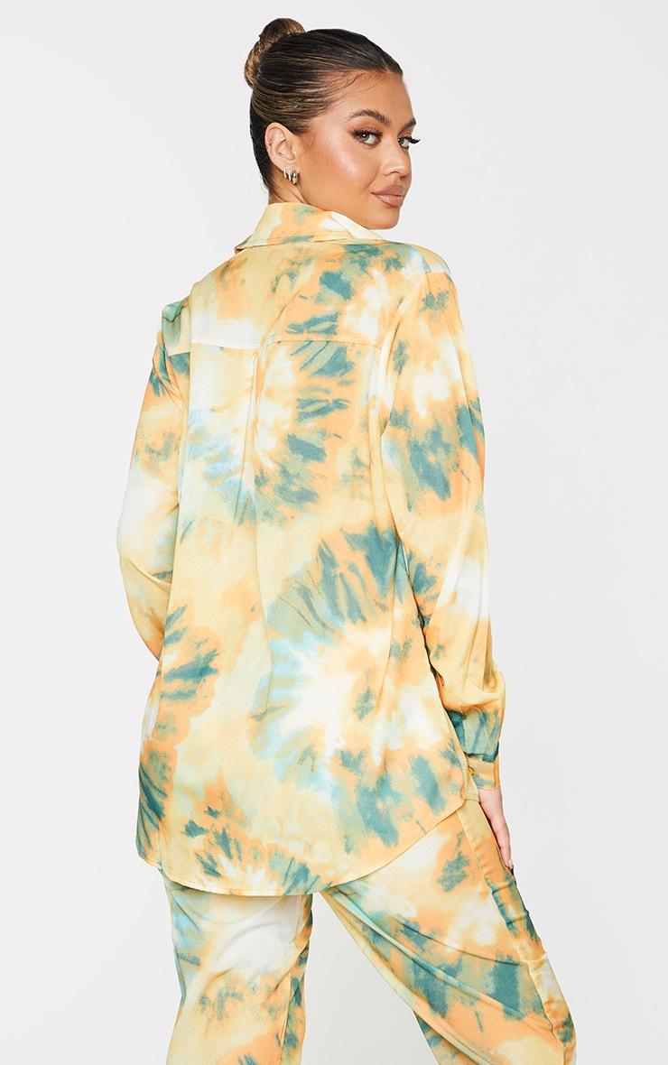 Orange Tie Dye Print Long Sleeve Oversized Shirt 2