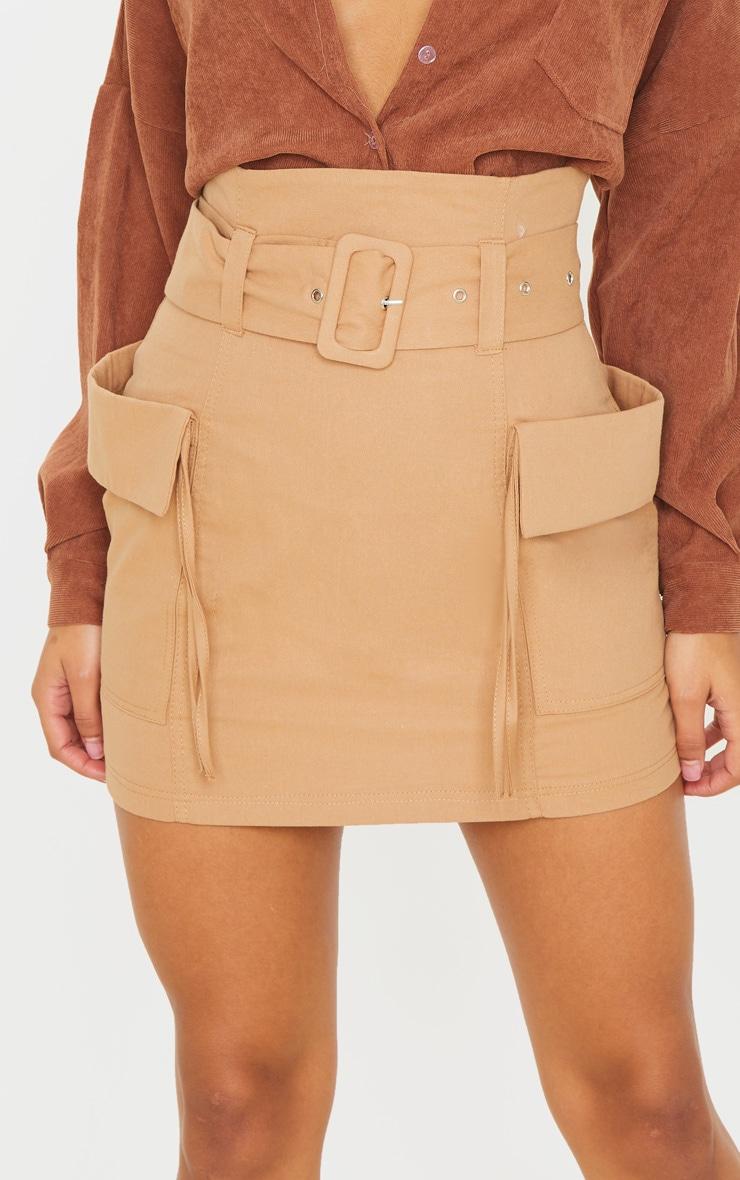 Stone Belted Pocket Detail Cargo Mini Skirt  6