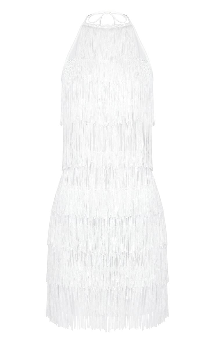 White Tassel Detail Halterneck Bodycon Dress 3