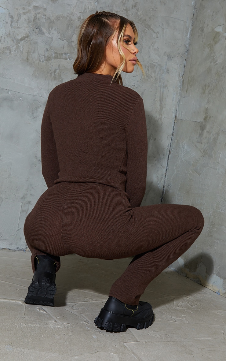 Chocolate Ribbed Knitted Zip Up Cardigan 2
