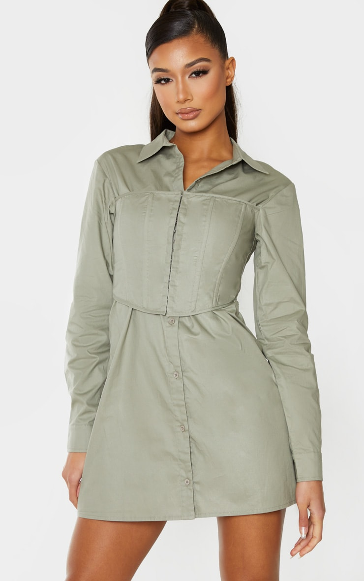 Sage Green Hook & Eye Corset Bust Shirt Dress 1