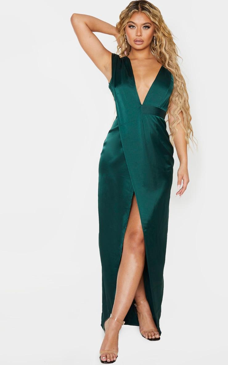 Emerald Green Asymmetric Drape Detail Maxi Dress 1