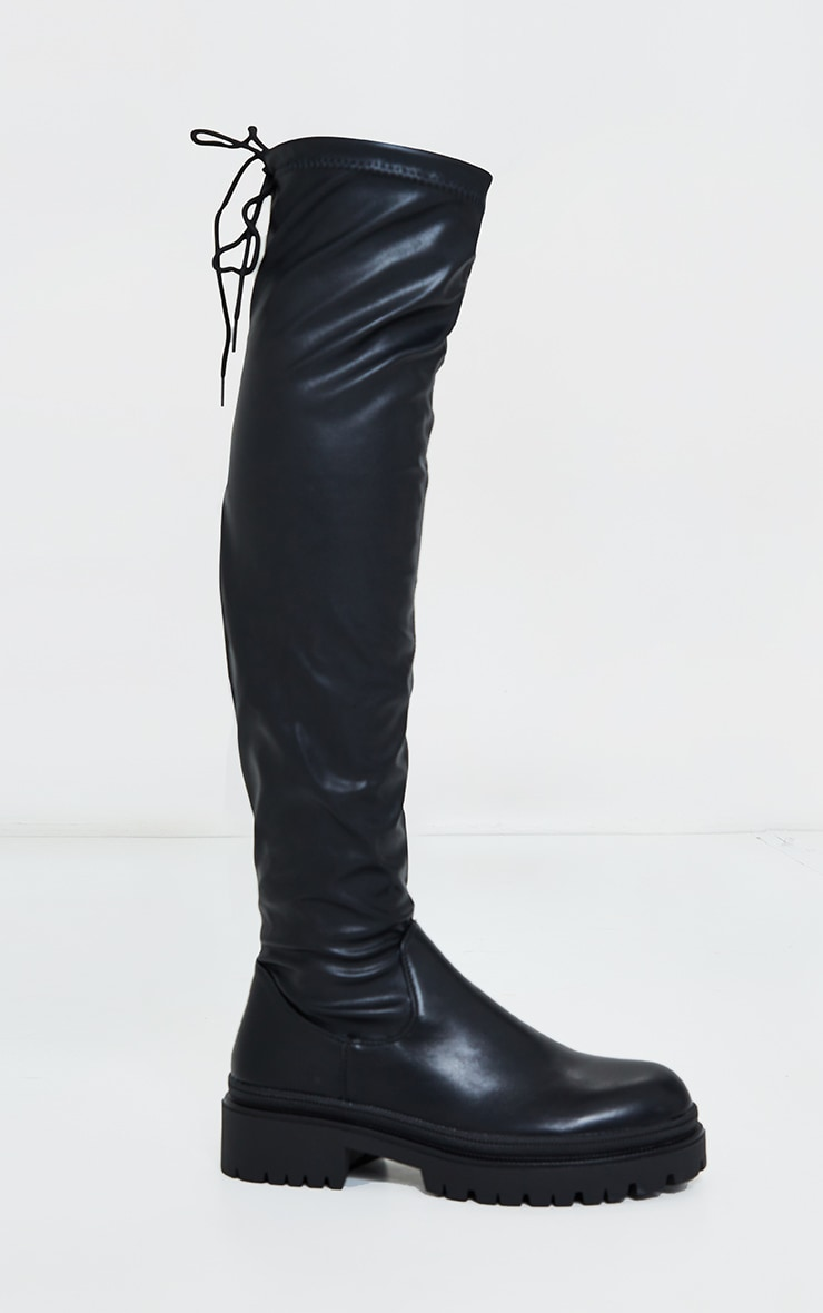 Black PU Over The Knee Chunky Boots 4
