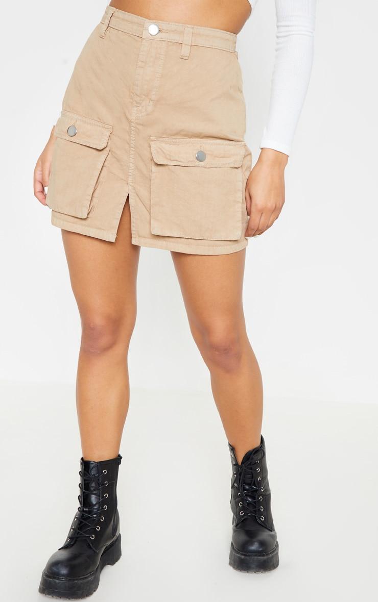 Pocket Detail Stone Denim Skirt  2