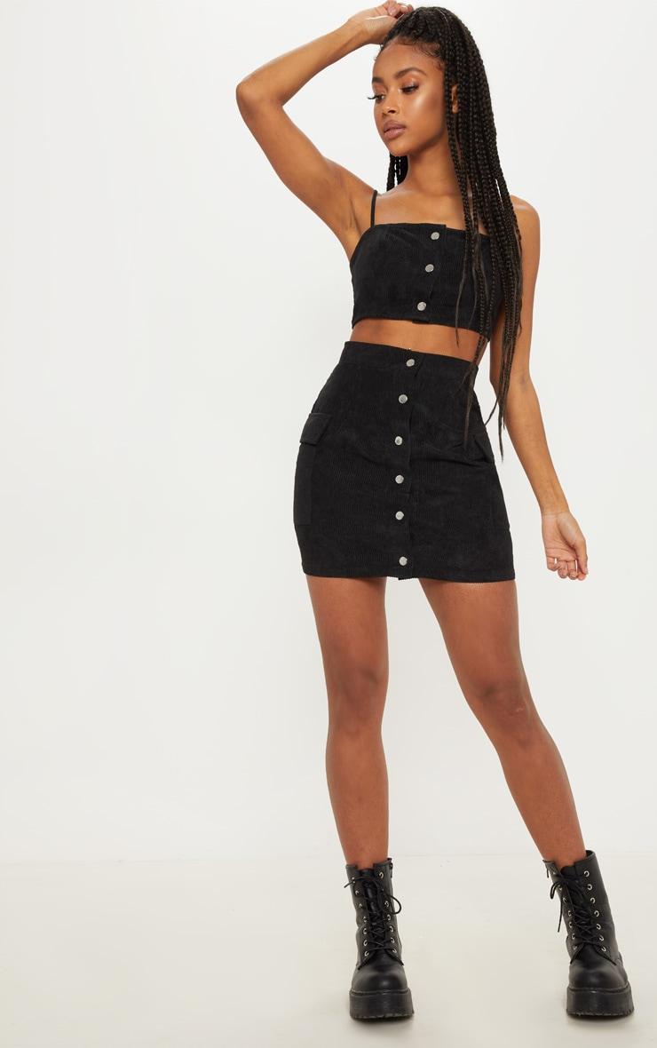 bf9767ccf5 Black Cord Popper Detail Mini Skirt image 1