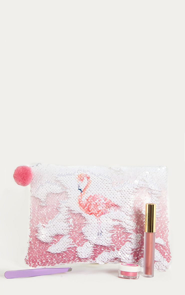 White Sequin Flamingo Make Up Bag 2
