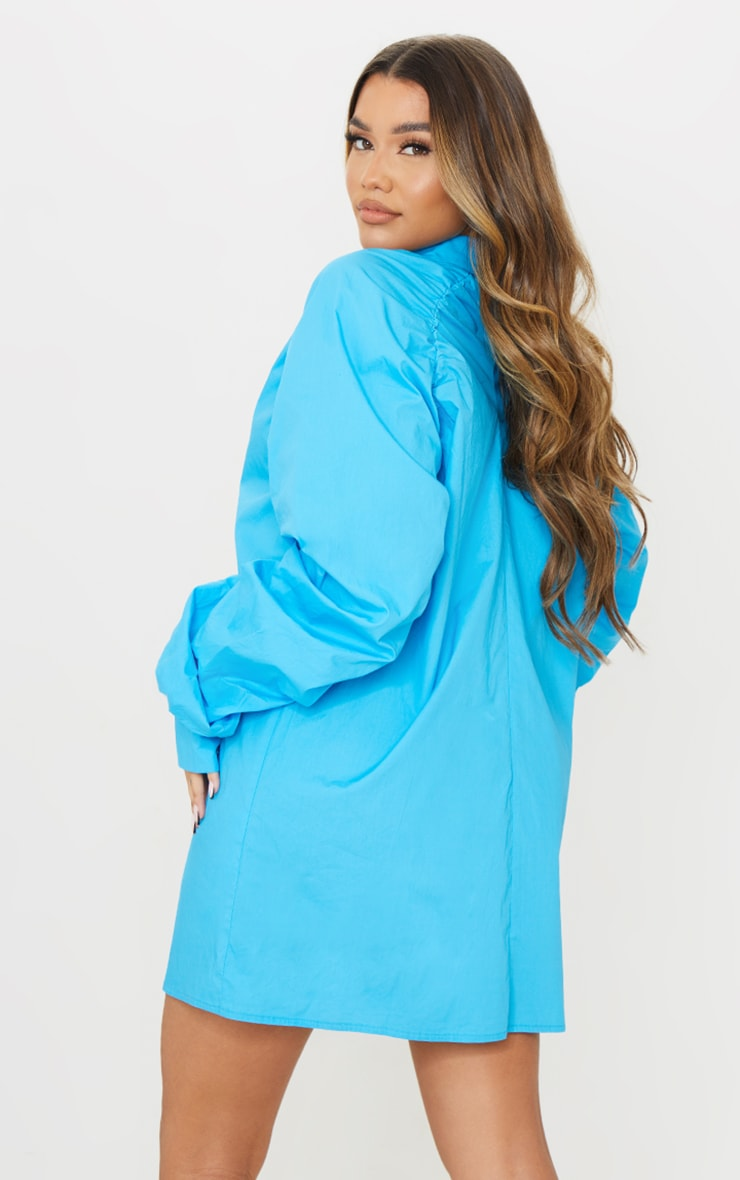 Blue Ruched Sleeve Detail Oversized Shirt Dress 2