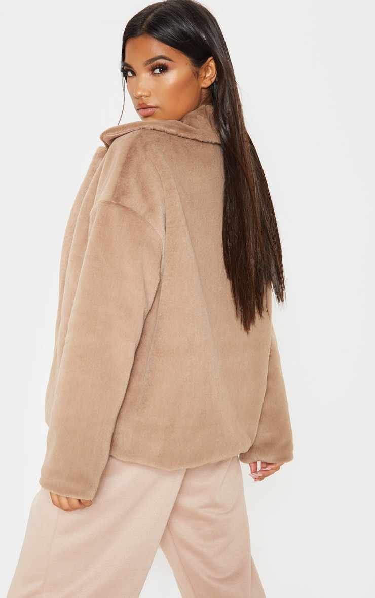 Taupe Oversized Faux Fur Jacket 2