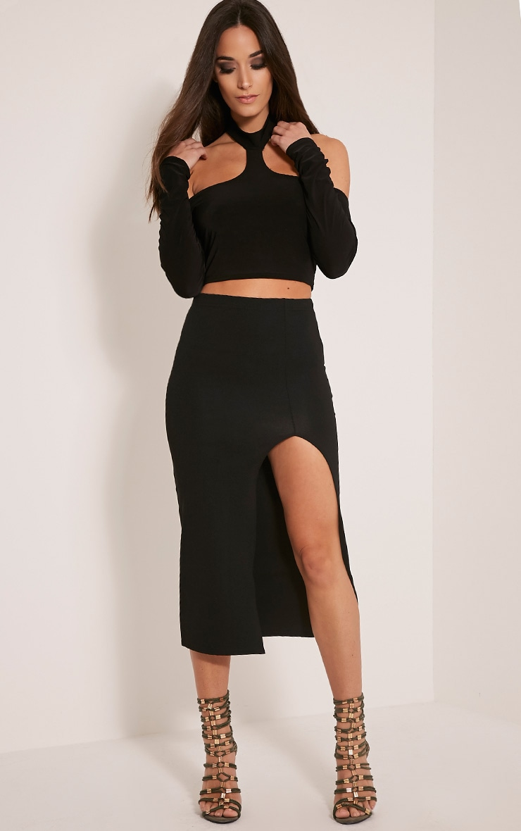 Salia Black High Split Midi Skirt 1