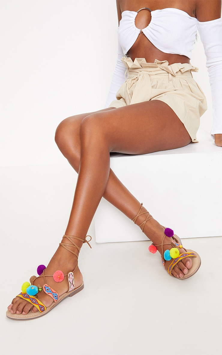 Tan Embroidered Ghillie Sandals 2