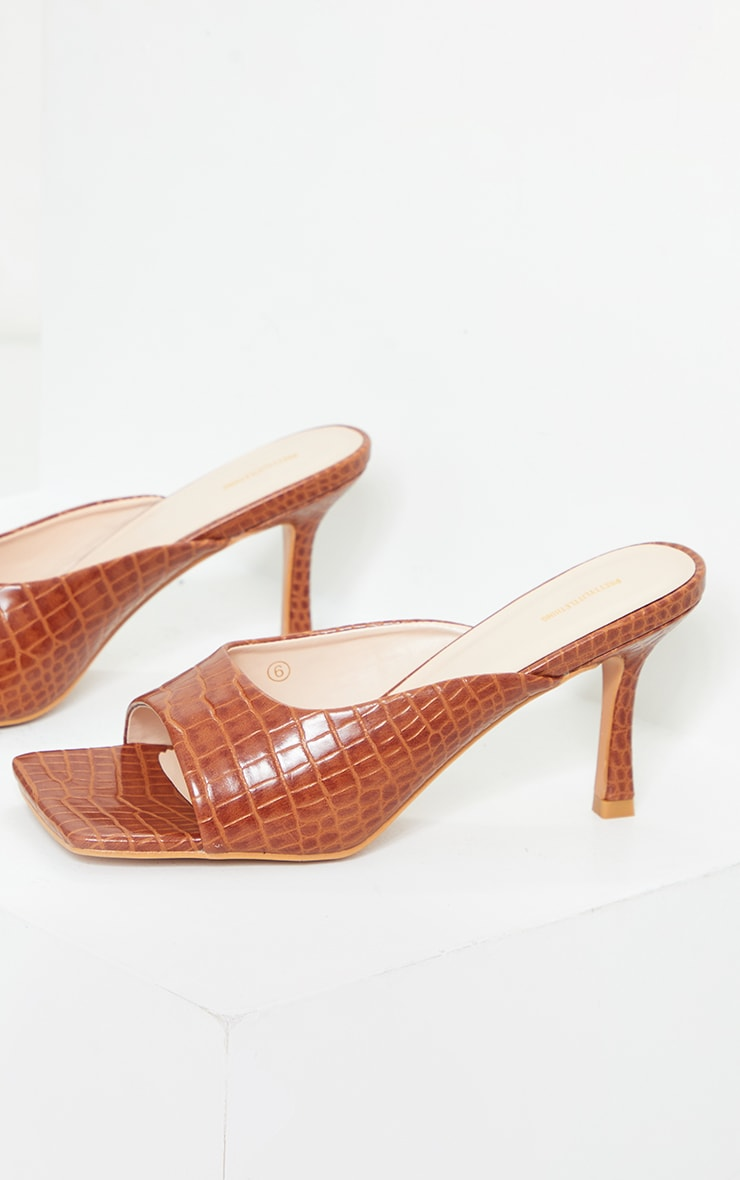 Tan Croc PU Box Strap Low Heeled Mules 3