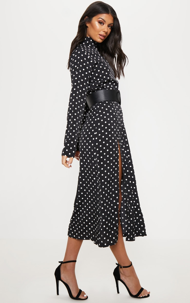 Monochrome Polka Dot High Neck Pleat Front Midi Skater Dress 4