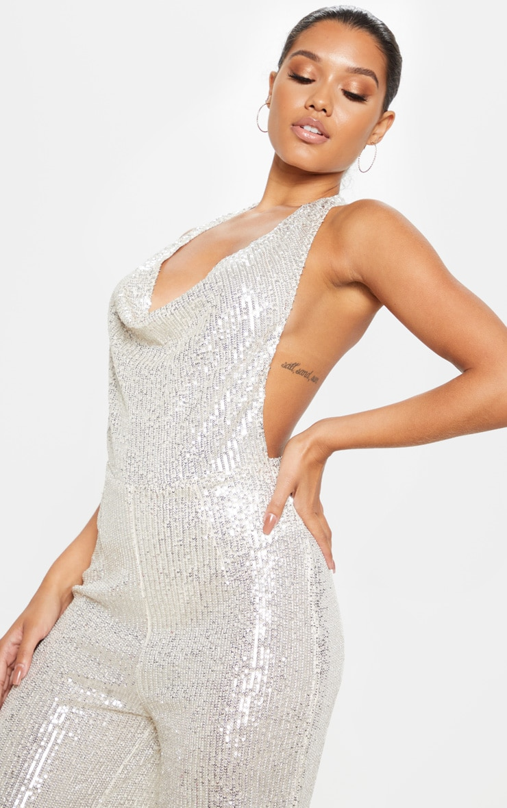 Silver Sequin Cowl Neck Wide Leg Jumpsuit 5