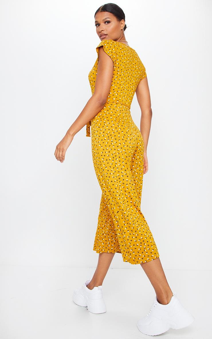 Mustard Ditsy Floral Wrap Culotte Jumpsuit 2