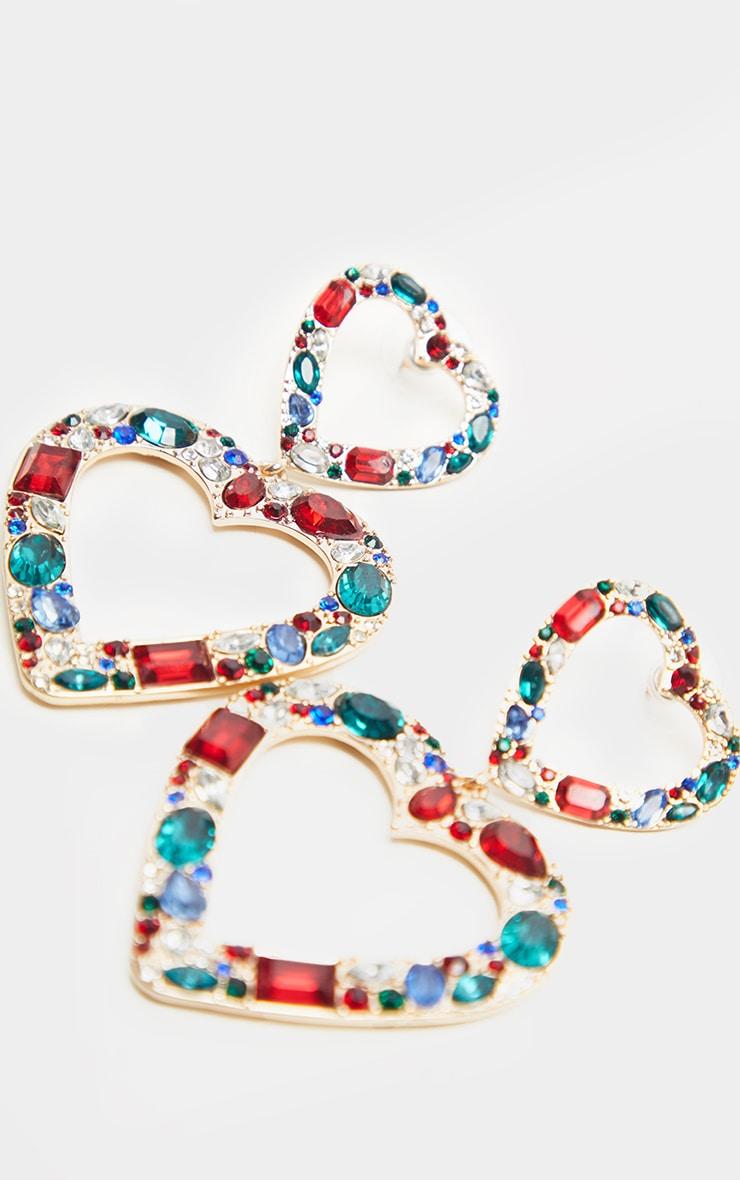 Boucles d'oreilles pendantes multicolores à coeur double et pierres fantaisie cristal 3