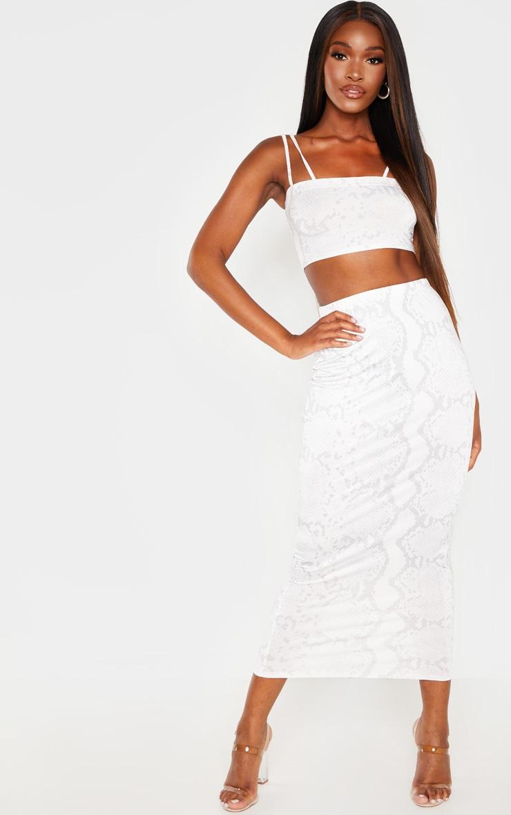 Cream Slinky Snake Print Midaxi Skirt 1