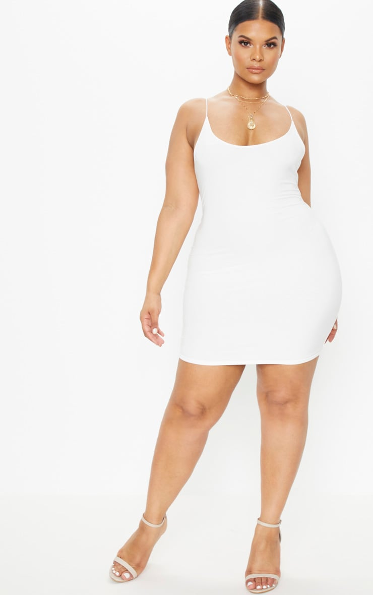Plus Cream Second Skin Slinky Spaghetti Strap Bodycon Dress 4