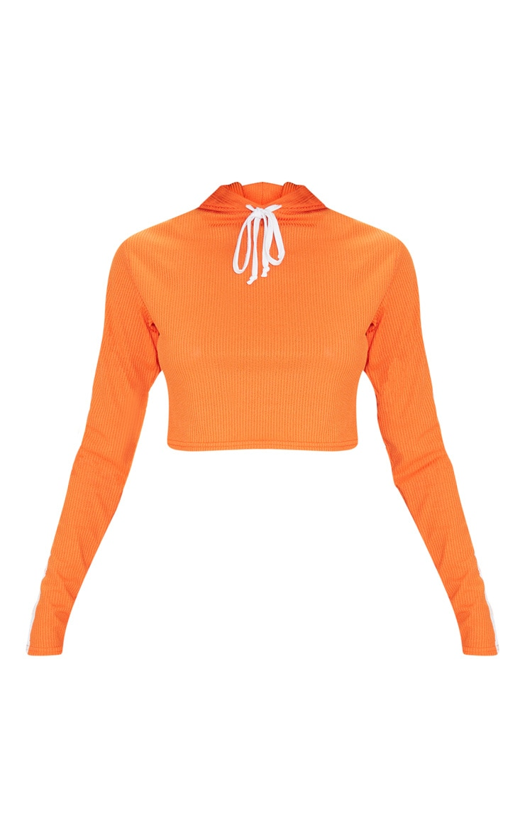 Orange Rib Sport Stripe Detail Cropped Hoodie 3