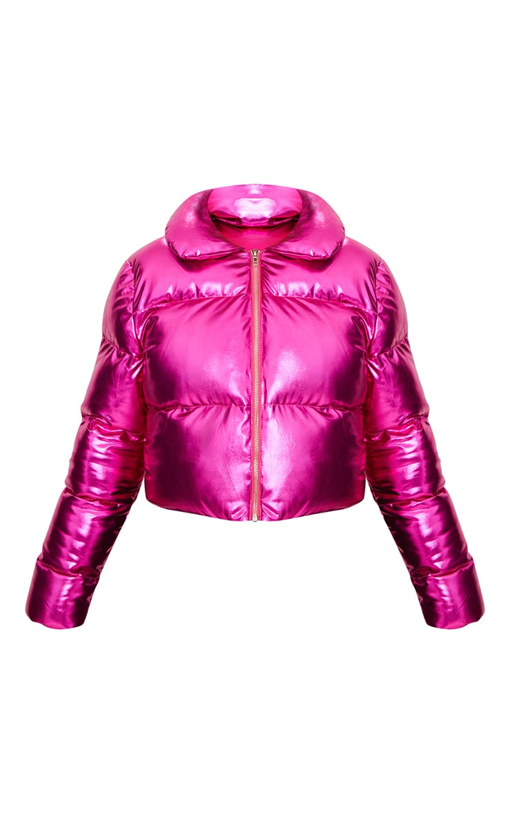 Hot Pink Metallic Cropped Puffer Jacket 3