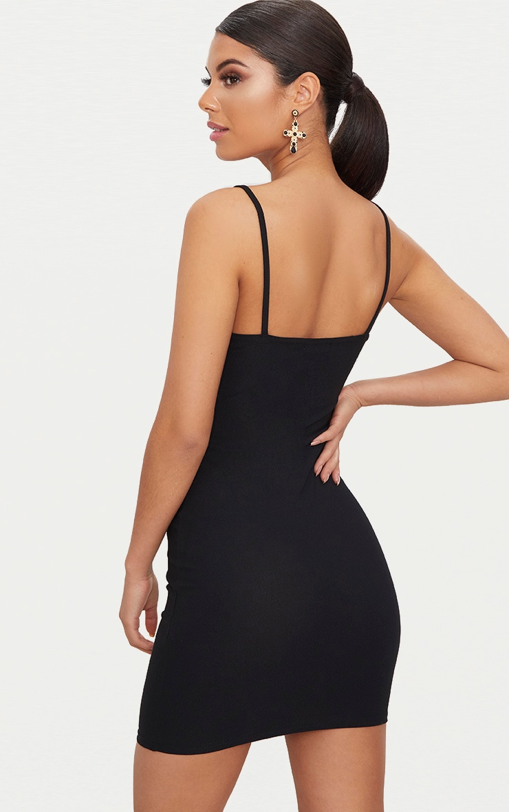 Black Strappy Straight Neck Bodycon Dress 2