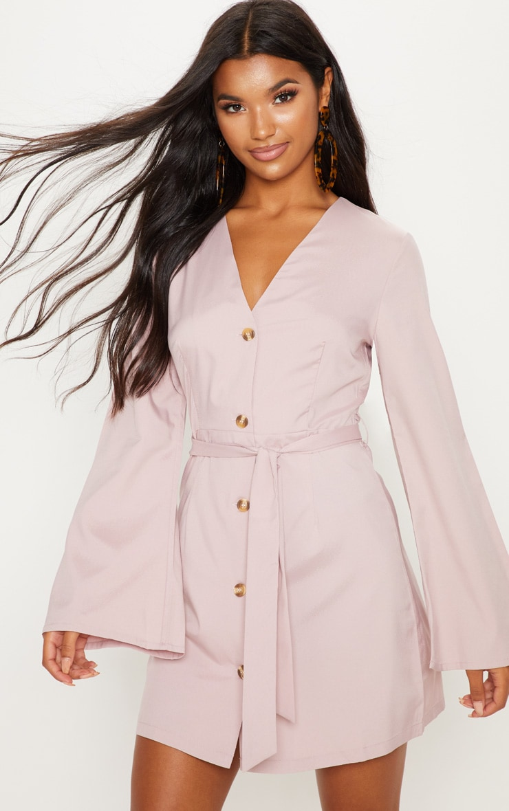 Blush Tortoise Shell Button Tie Waist Flare Sleeve Shift Dress by Prettylittlething