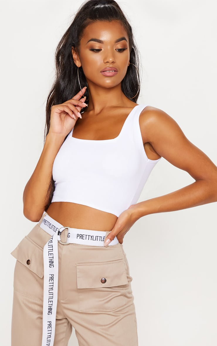 White Square Neck Crop Top 1