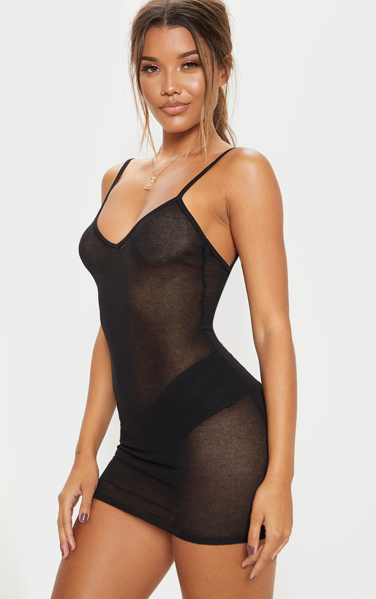 Black Sheer Knitted Strappy Dress  1