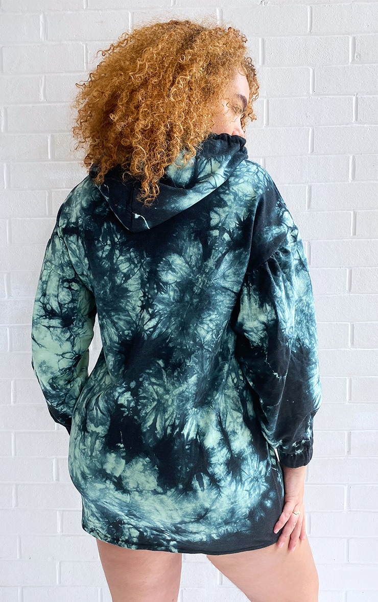 Plus Sage Green Tie Dye Ruched Hooded Sweat Dress 2