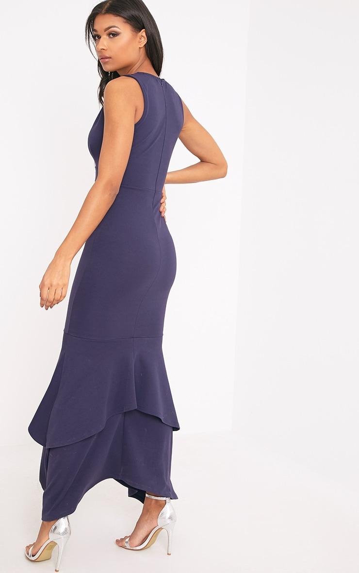 Gabriella Navy Plunge Frill Hem Maxi Dress 2