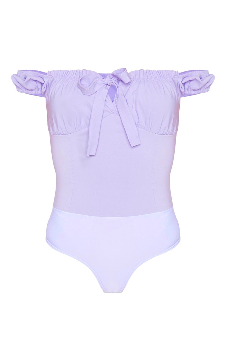 Tall Dusty Lilac Woven Bardot Tie Front Bodysuit 3