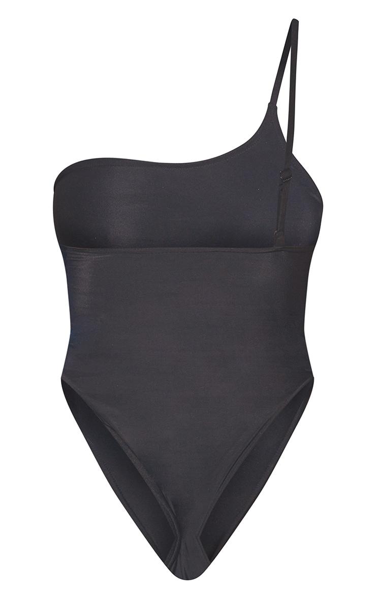 Black Recycled Fabric Basic Asymmetric Swimsuit 6