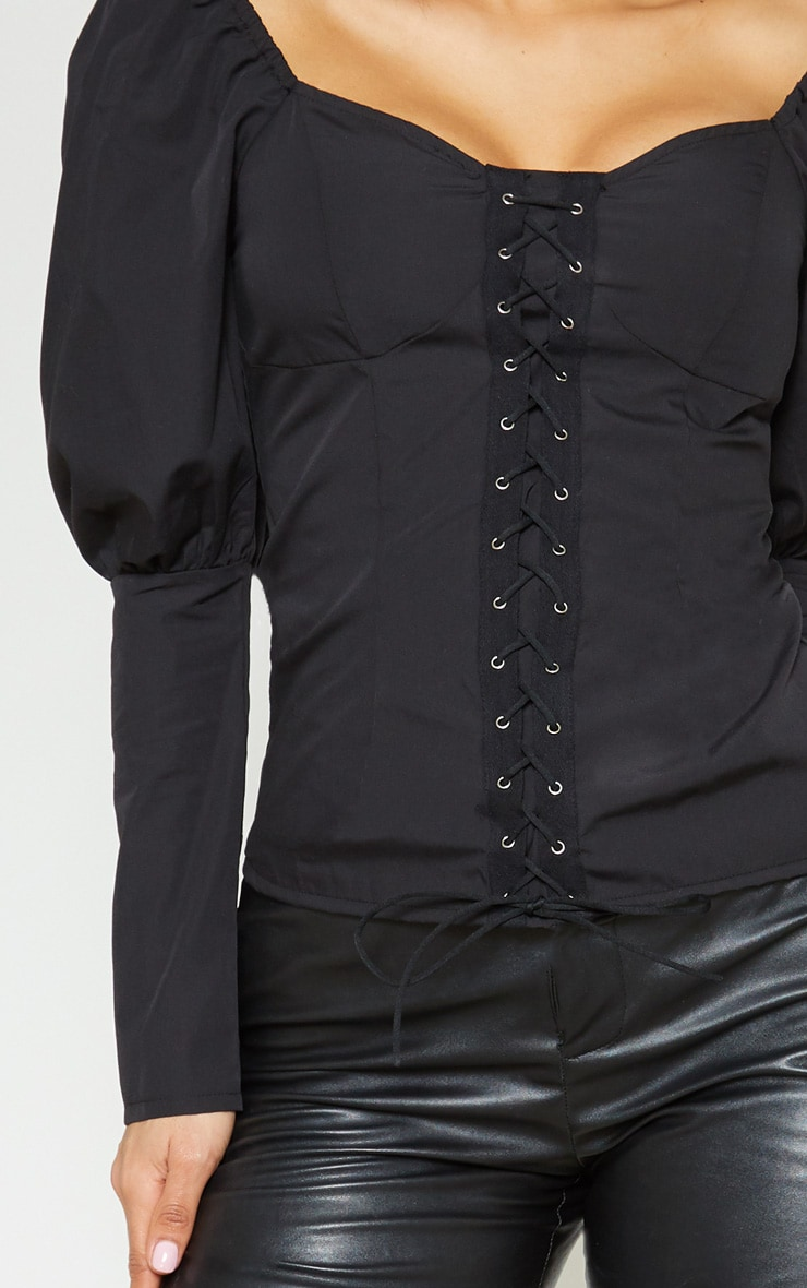 Black Lace Up Cup Detail Puff Long Sleeve Top 5