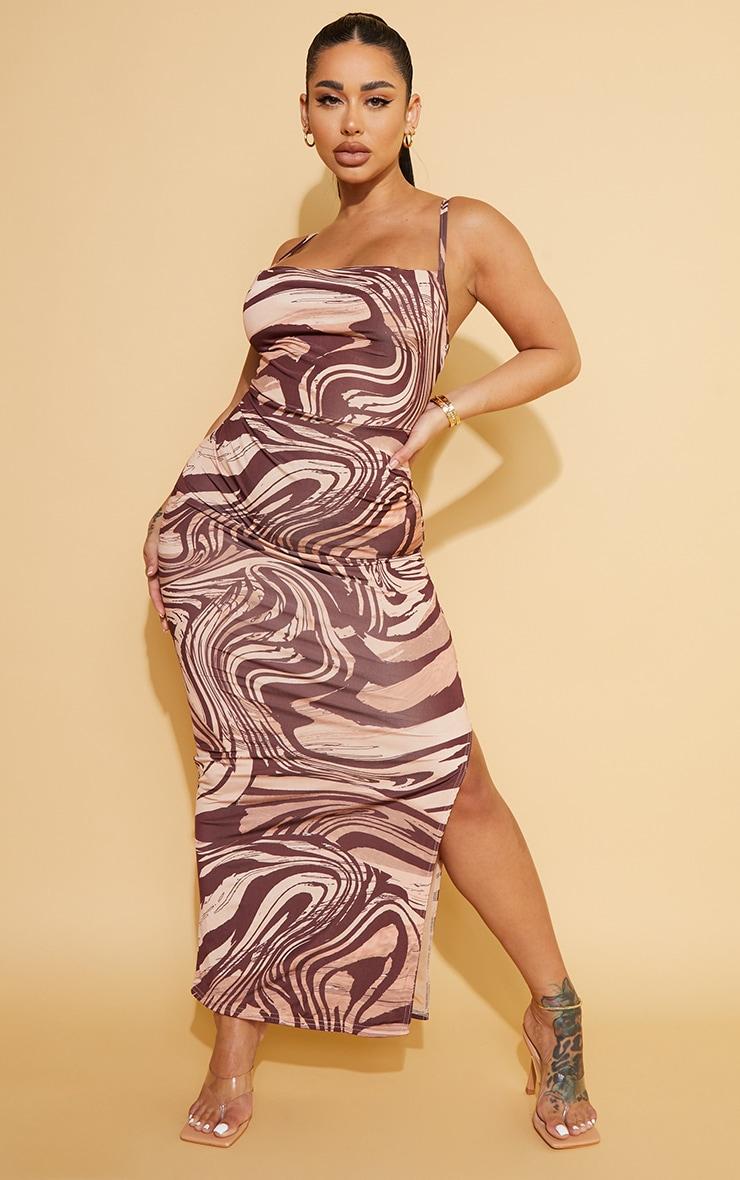 Shape Stone  Marble Print Slinky Cowl Neck Midaxi Dress 1
