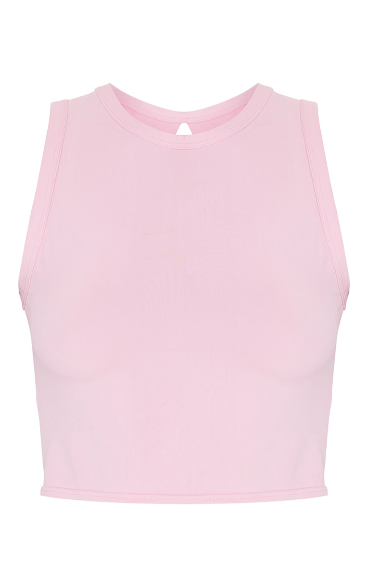 Pink Knot Back Cropped Sports Top 5